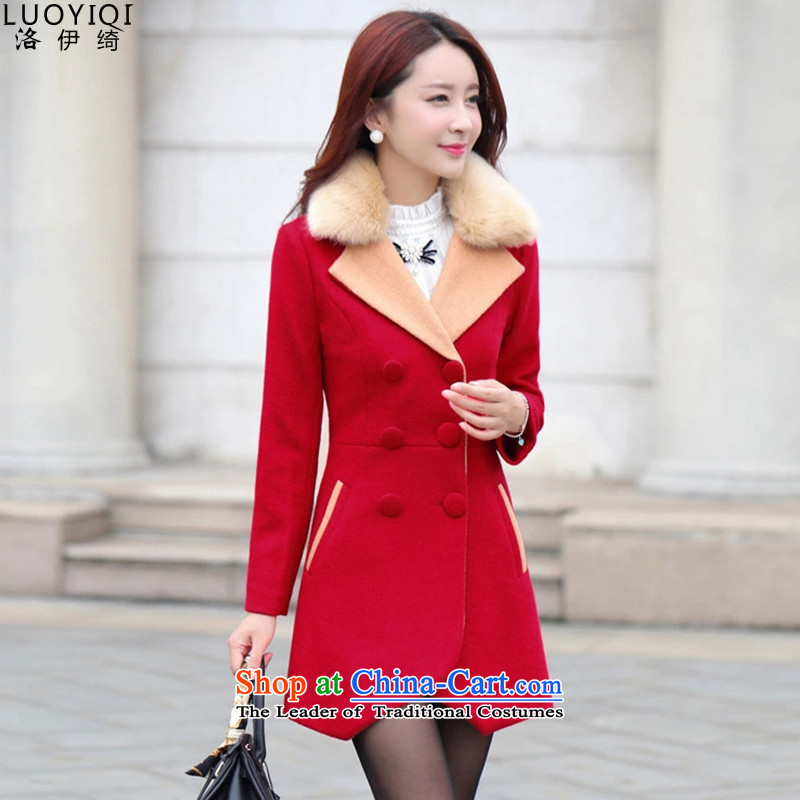 Trojan Women 2015 as autumn and winter new Korean fashion sense of gross? coats that long red color jacket_?燤
