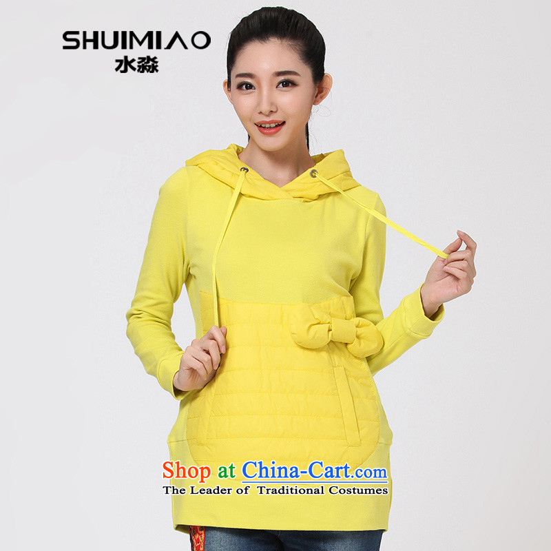 The representative of the water for larger female autumn and winter wild jacket and thick with cap sweater female Korean long-sleeved T-shirt S14DK4111 lemon yellow L