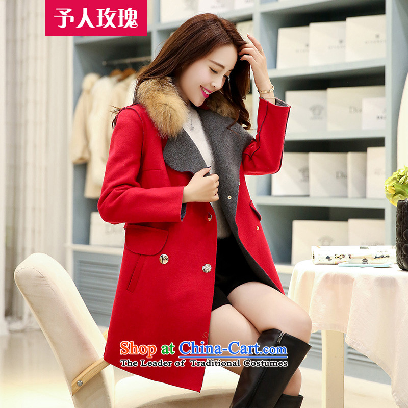 The rose to?new 2015 autumn and winter coats that? Long Korean Women's Beauty at the beginning of the winter coats female YRMG9080 gross? RED?M
