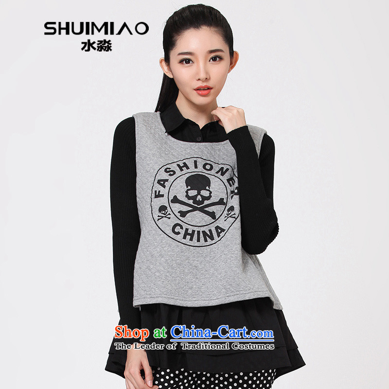 The representative of the water for larger Korean baseball service kit leisure stamp and sweater women 2014 autumn and winter coats S14DK4132 flower Gray燣