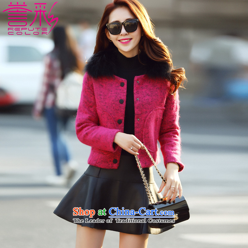 Also known聽2015 autumn and winter new Korean Nuclear Sub gross collar rabbit hair? jacket a wool coat T517 female red in the聽L
