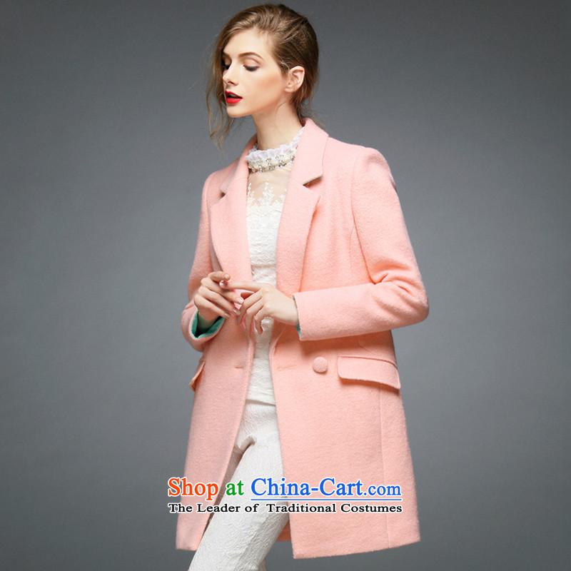 The half-timbered break clearance minimalist style ribs a wool coat pinkL