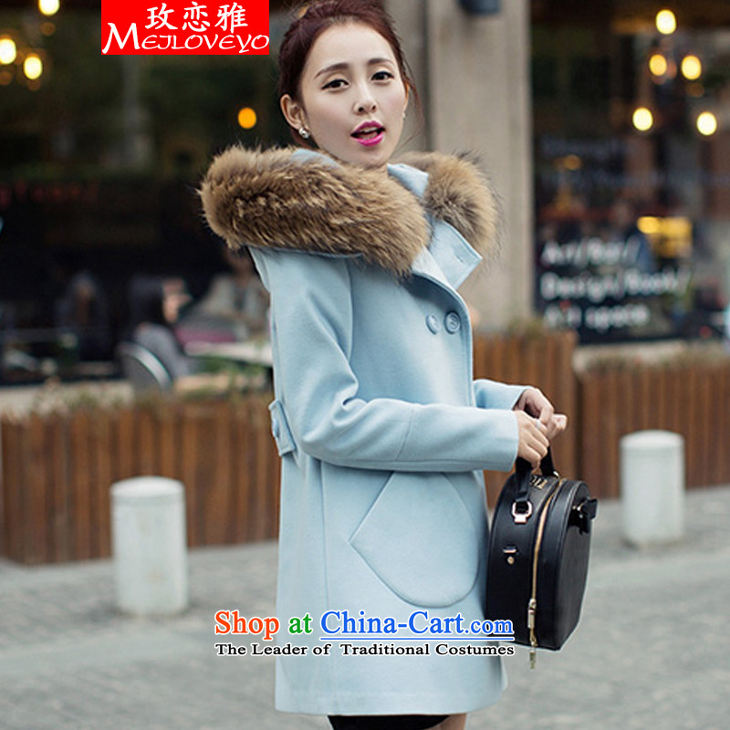 The land of the 2015 autumn and winter goddess of the new Fan Bing Bing with gross?, double-jacket Korean version of women's gross overcoats women? 1386 BlueXL
