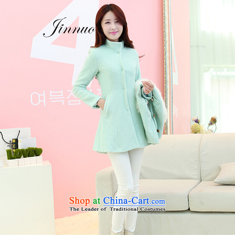 The world of Kam Yuet-sweet gentlewoman temperament elegant aristocratic Korean version of England in the wind long thin hair color graphics Sau San? coats wind jacket winter clothes with Kampala shoulder for mint green grossM