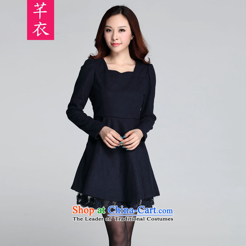 Kumabito female thick waves for increased mm code graphics 2015 thin new Fall_Winter Collections thick hair? Korean womens long-sleeved blue skirt?2XL 140-160 characters catty