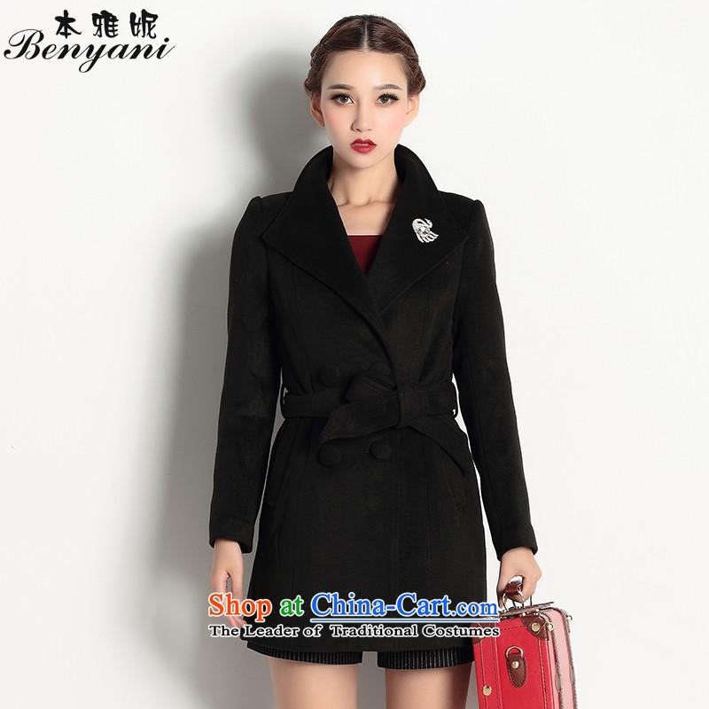 The�15 autumn and winter Ya-Ni Tseng New Korean long thin video   Gross female black jacket coat?燲L