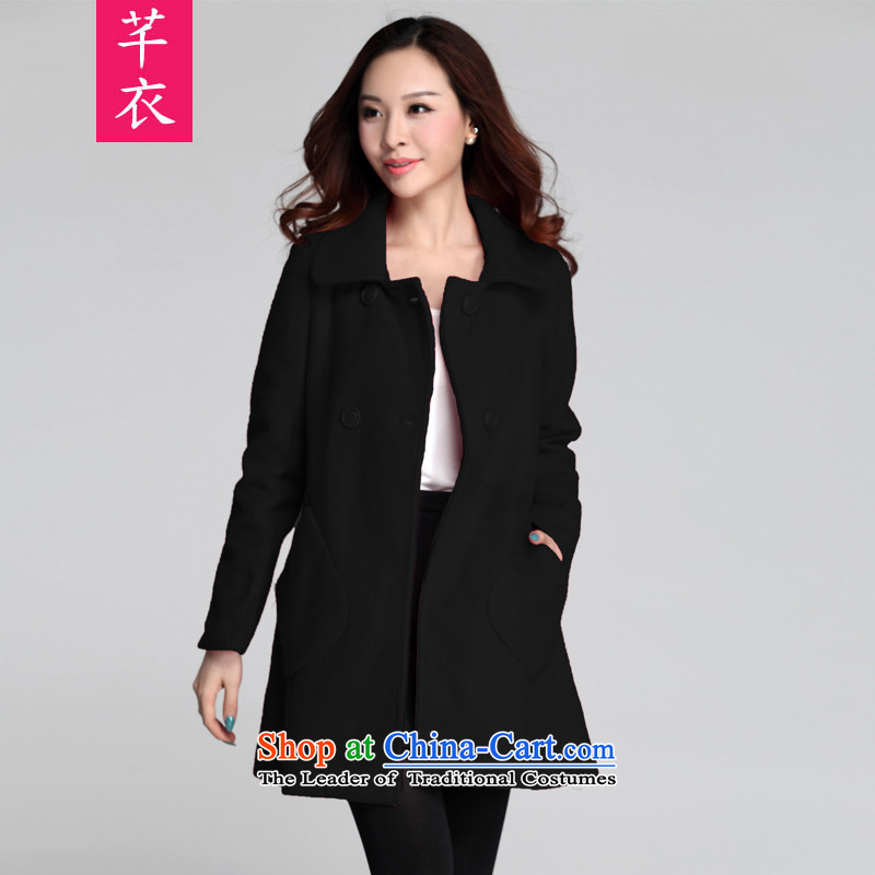 The Constitution Yi xl kumabito female thick sister 2015 new Korean version of autumn and winter long lapel a wool coat cloak long-sleeved jacket black 3XL gross? 165-180 catty