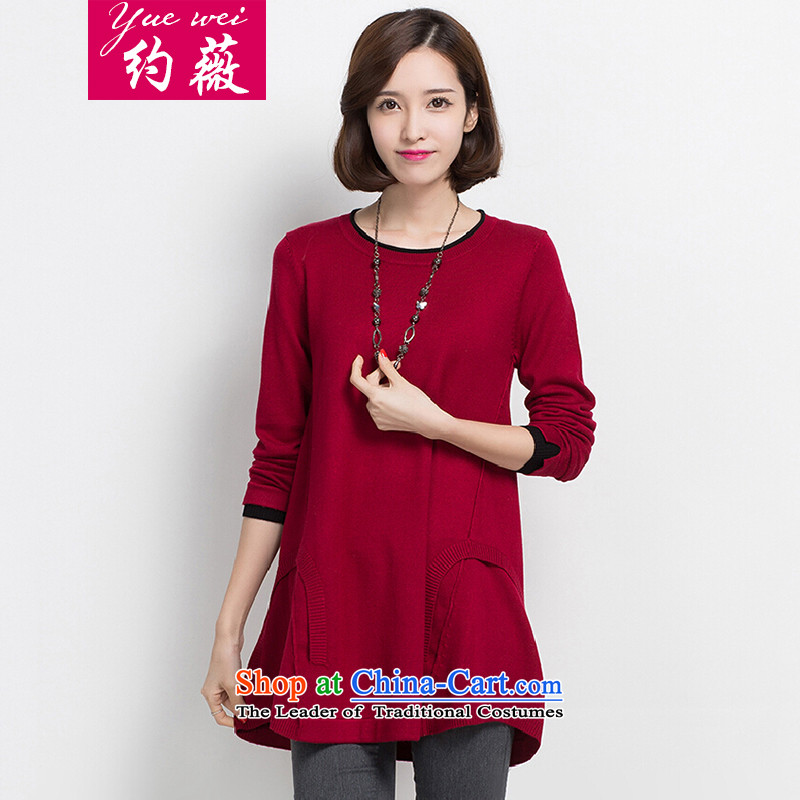 Ms Audrey EU 2015 new about the fall of women for larger women in MM thick long sleeve and forming the knitwear Korean female sweater loose video thin  W998 wine red 4XL
