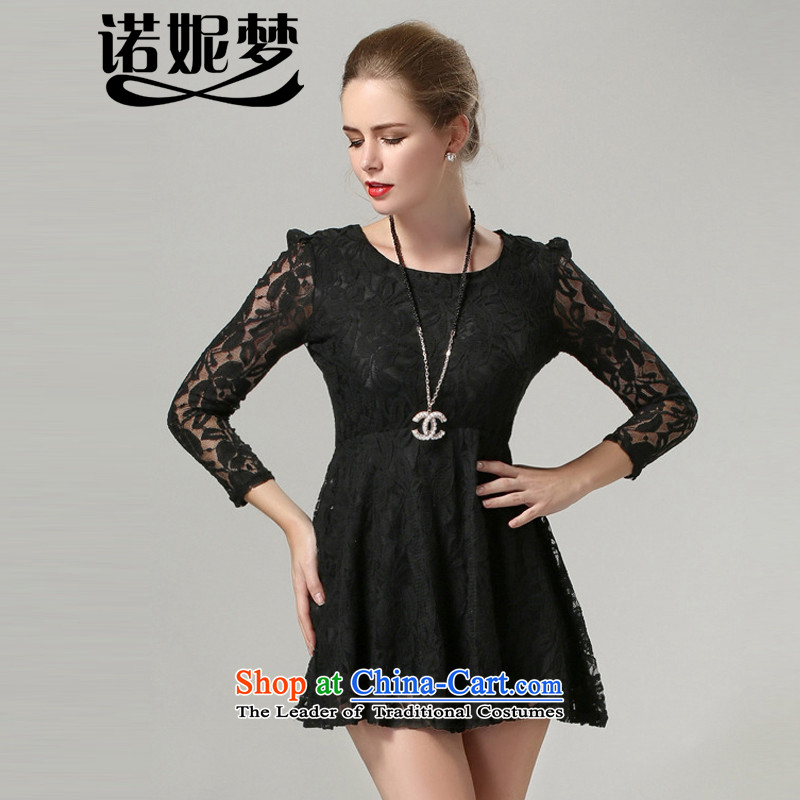 The Ni dream new_ Autumn 2015 Europe to increase women's burden of code 200 mm thick temperament Foutune of 9 cuff lace dresses s1036 XXXXL black