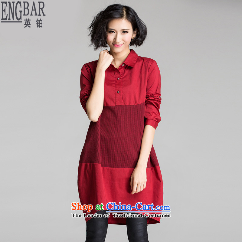 The British Platinum 2015 Autumn replacing new large long-sleeved blouses and video for long-sleeved shirt thin dresses Y1296 wine red large 3XL code