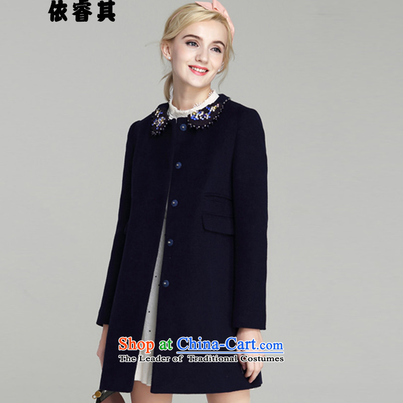 In accordance with the core of its 2015 autumn and winter new Korean version of Sau San? In gross coats of large anavy blue jacket 1886M