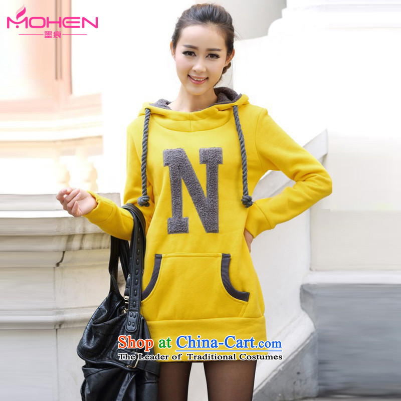 Ink marks of autumn and winter stylish new larger female Korean version of Sau San letters transfer Leisure Link Cap Head lint-free thick warm sweater 931 yellow 2XL_ recommendations 150-165¨catties_