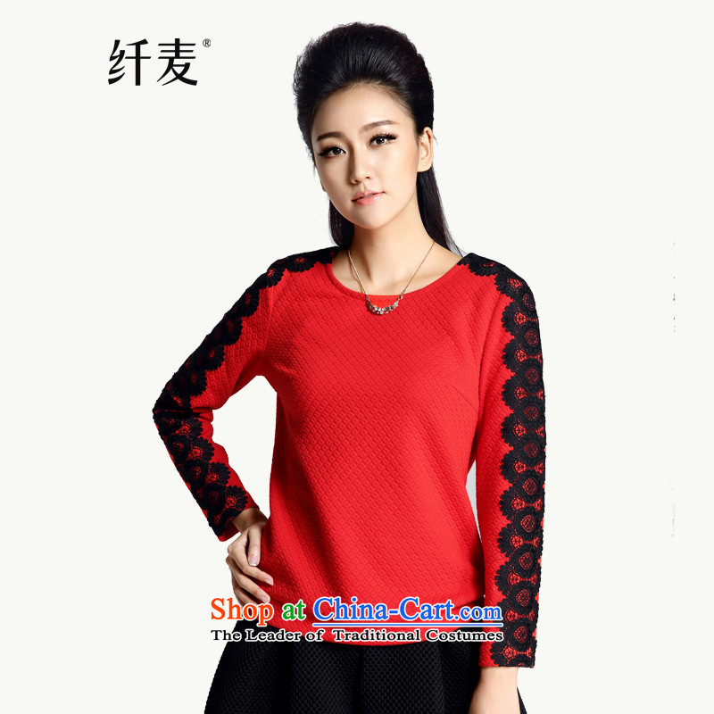 The former Yugoslavia Migdal Code women 2015 winter clothing new stylish mm thick lace stitching long-sleeved top female爎ed�L 944021070