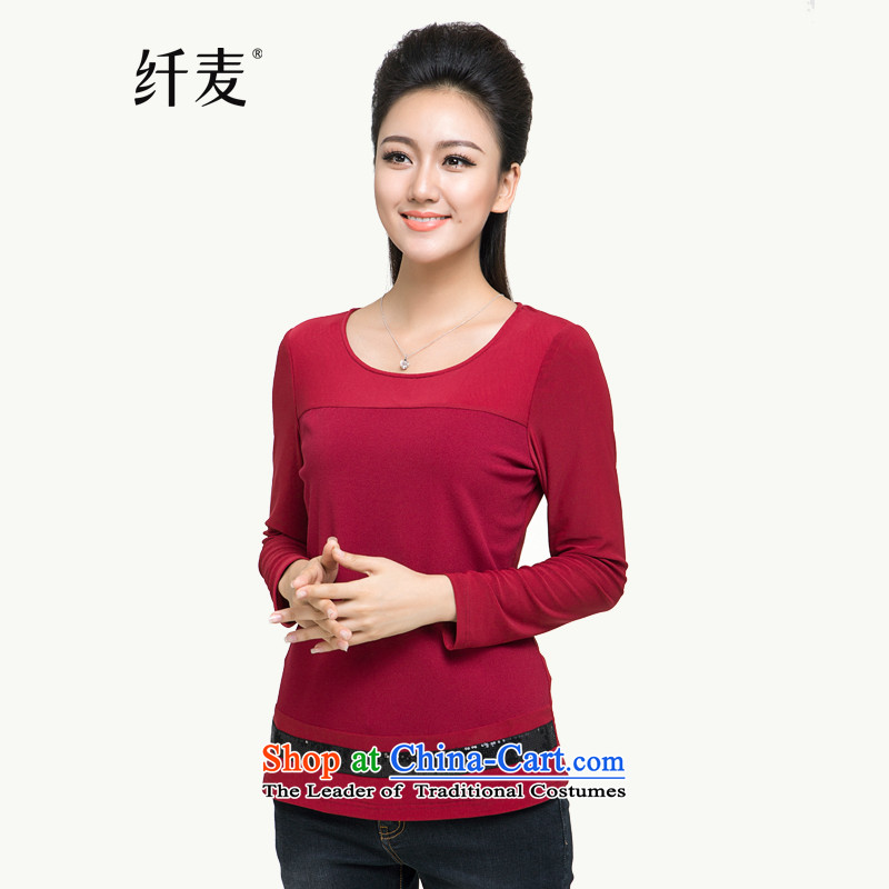 Large long-sleeved T-shirts 2015 Fall_Winter Collections new stylish mm thick thin women forming the video long-sleeved shirt 944171060 Red 4XL