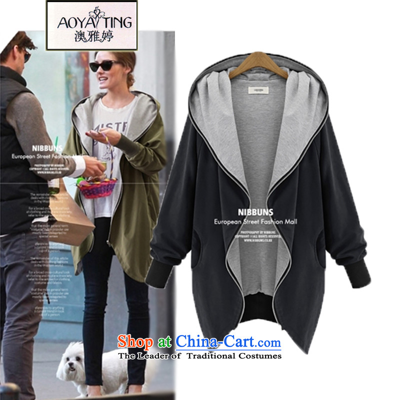 O Ya-ting2015 spring and autumn, new sweater to xl female jackets with cap cardigan sweater girlsA21Black5XL175-200 recommends that you Jin