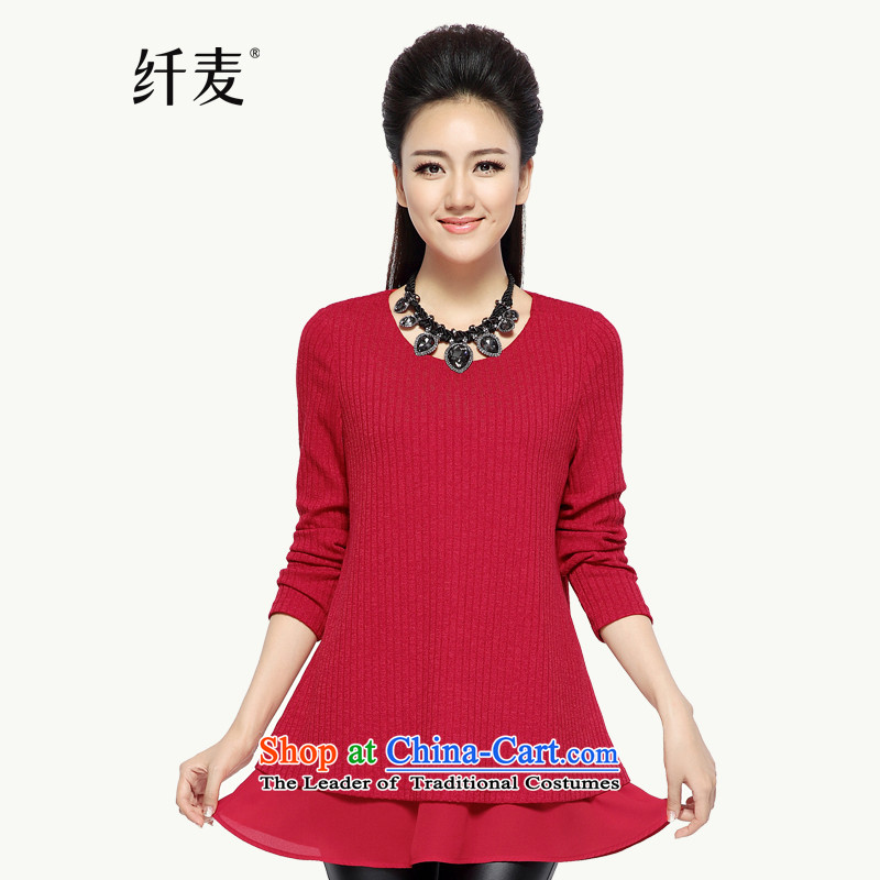 The pre-sale of Yugoslavia Migdal Code women 2015 Autumn replacing new expertise in mm long sleeve and sister larger T-shirt knitwear?944365101 female?red pre-sale 12.12?3XL Shipment
