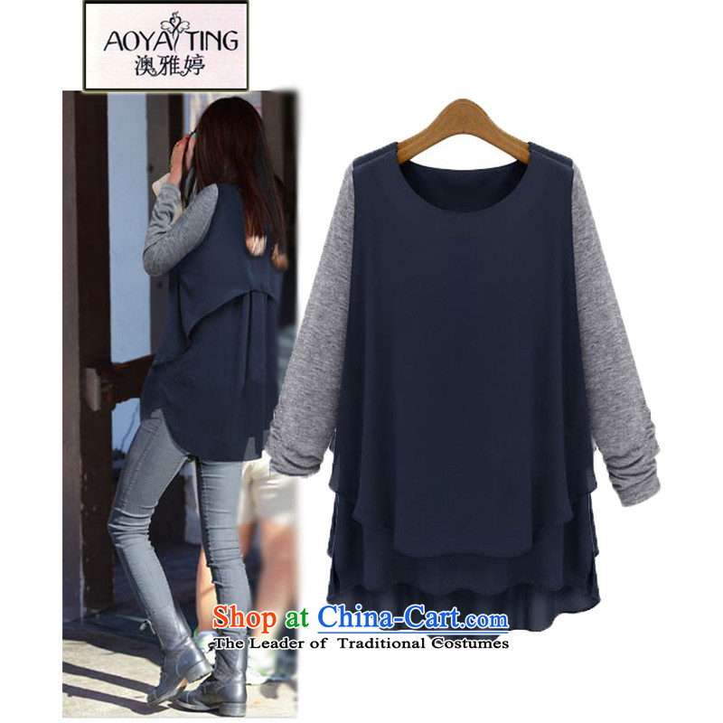 O Ya-ting�15 Autumn new for women to increase women's wear shirts, Western Wind Jacket long-sleeved T-shirt female 588 dark blue�L爎ecommendations 145-165 catty