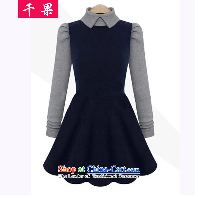 Thousands of autumn 2015 a new fruit of King women thick mm to xl dresses Sau San Video Foutune of forming the thin large skirt dresses 662 dark blue 3XL