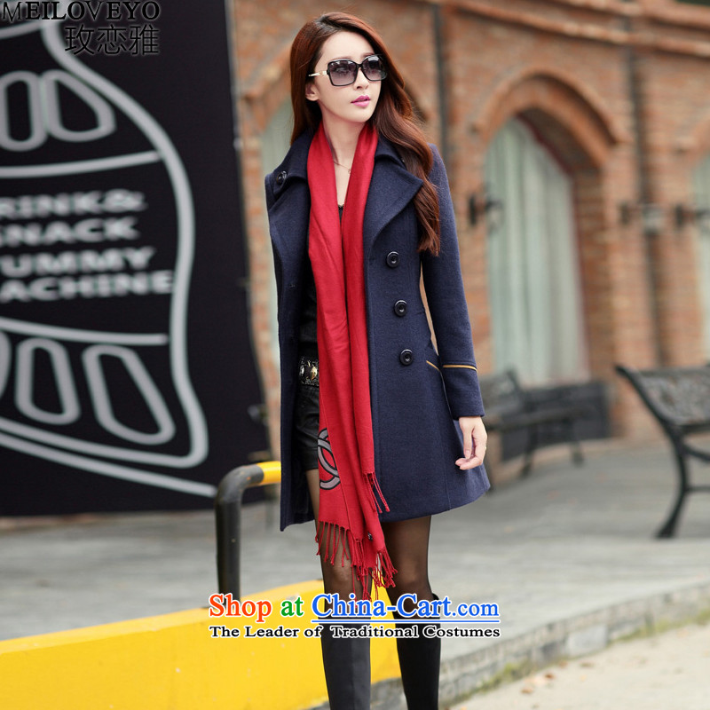 The land of the autumn and winter 2015 new coats female Korea gross?   Gross? jacket version in the female a wool coat long thin coat female MLY227 graphics navy M