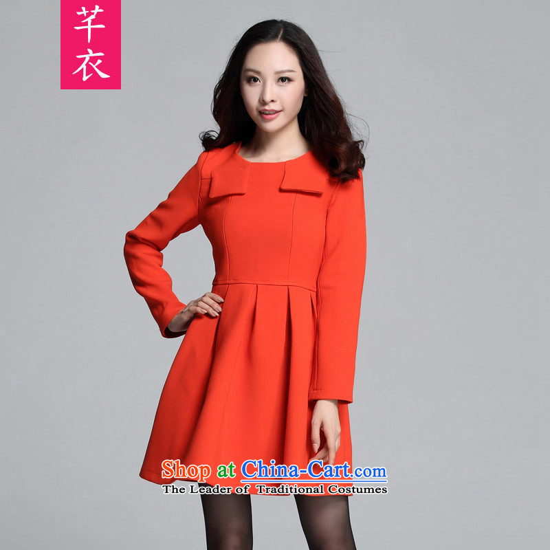 Kumabito female XL 2015 new autumn and winter thick mm retro gentlewoman Foutune of video thin thick knitting twill long-sleeved shirt skirt orange�0-185 4XL catty