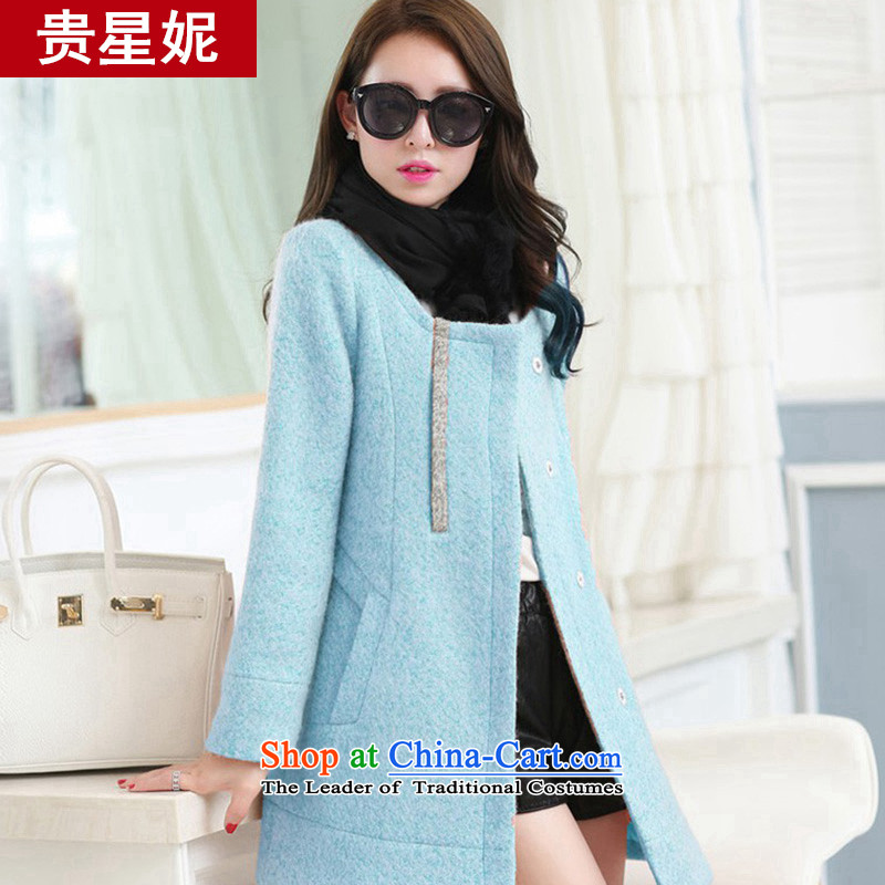 The fall of the Star Ni winter clothing new gross large jacket? female Korean windbreaker thick wool a wool coat loose cap straight-through? coats light blueXXL