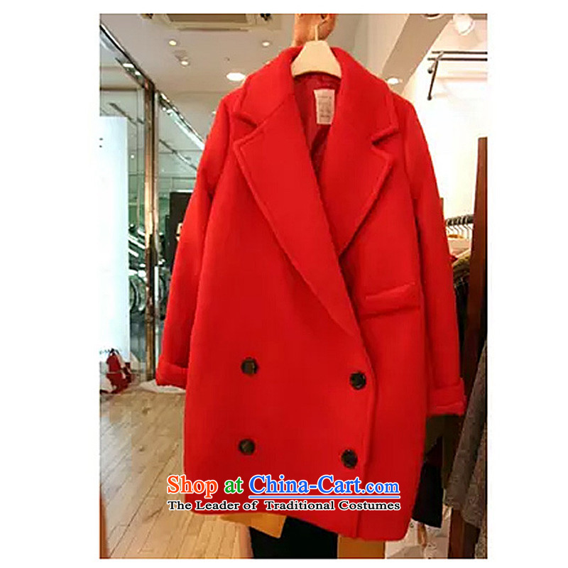 Yi YNL energy _Dongdaemun_, and Korea won version of large numbers of ladies in long hair? jacket coat 2015 autumn and winter? new coats red XL_?