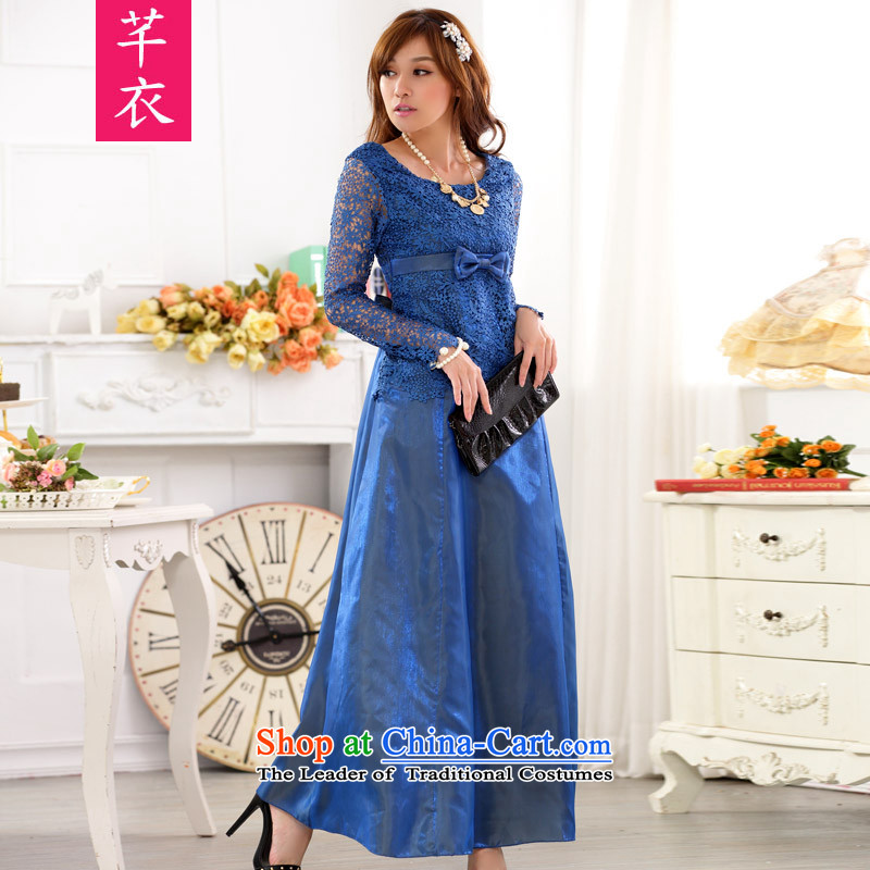 Thick people women 2015 new fat mm ultra-hosted a meeting long-sleeved skirt lace engraving xl long nights dress dresses blue XL 120-140 catty