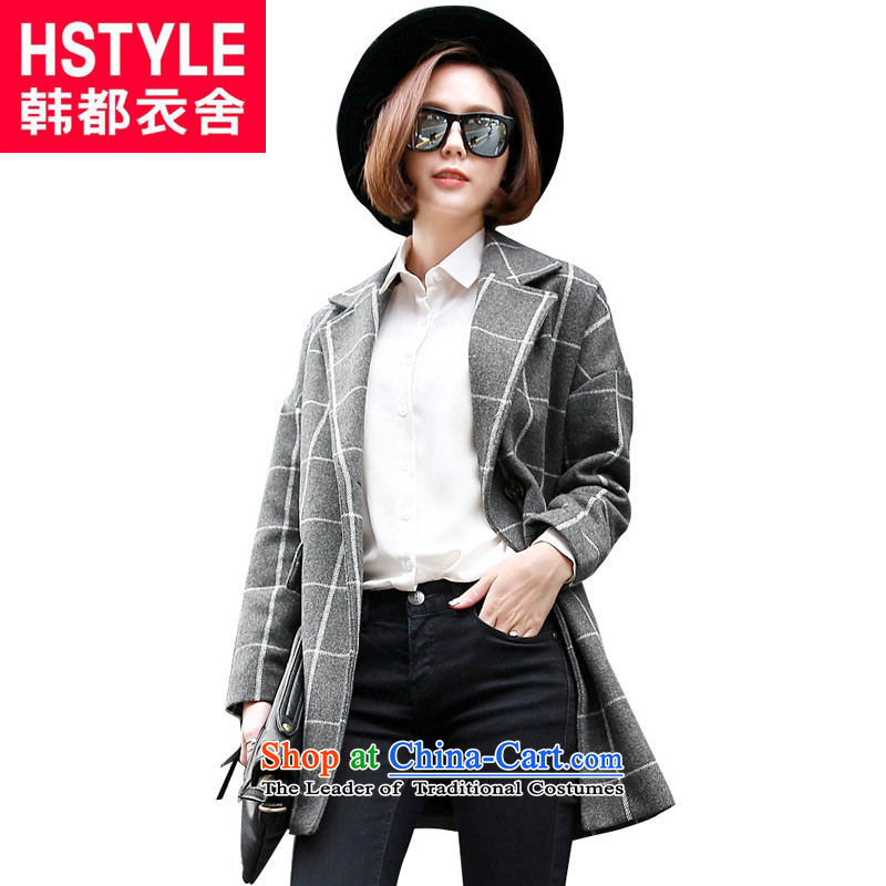 Korea has the Korean version of the Dag Hammarskjöld yi 2015 winter clothing new women's compartment long jacket OW4409 gross? NT 2.7 Gray L