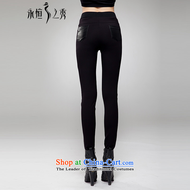 The Eternal Yuexiu code ladies casual pants 2015 Autumn thick sister thick people new Korean PU stitching graphics thin wild hip high Waist Trousers black 4XL(160 catty -180 through) Eternal catty-soo , , , shopping on the Internet