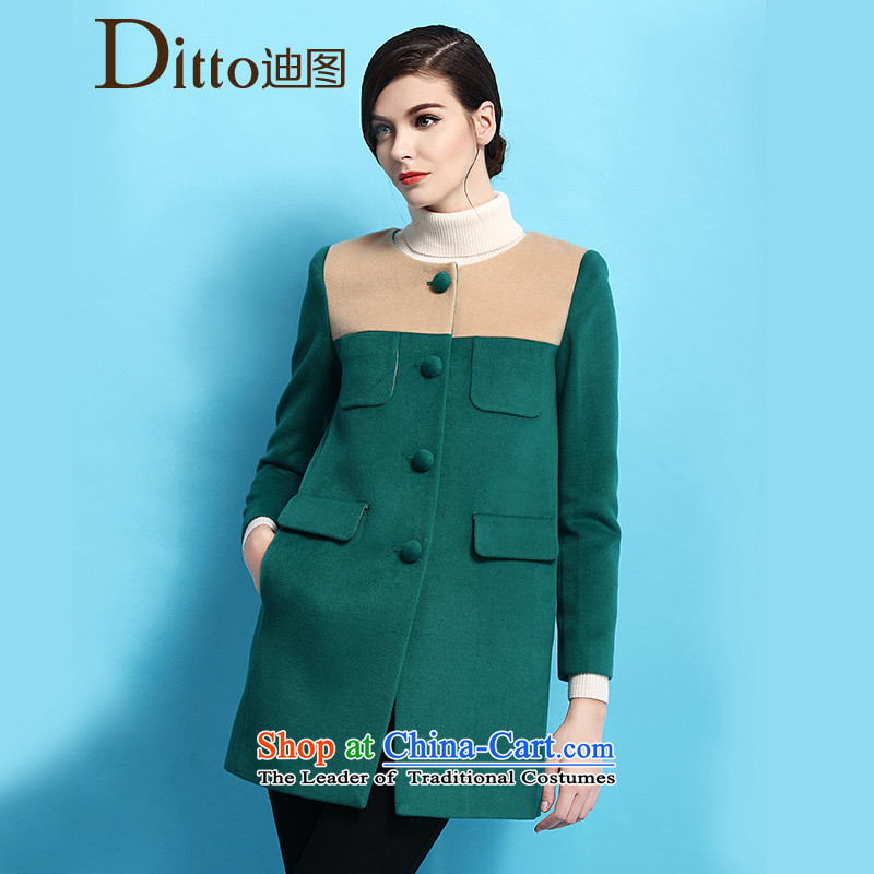 Ditto dutout autumn and winter stylish new products in the stitching Color Plane Collision long coats grossTKCR541green jacket?XL