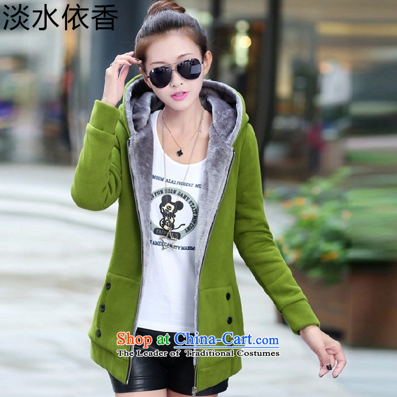 In accordance with the Shannon 2015 freshwater autumn and winter new larger female Korean version of the lint-free cotton swab services even thick cap sweater cardigan jacket female -916 Green    M