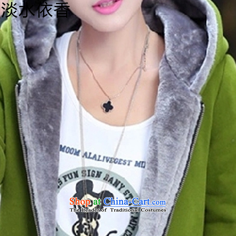 In accordance with the Shannon 2015 freshwater autumn and winter new larger female Korean version of the lint-free cotton swab services even thick cap sweater cardigan jacket female -916    M, in accordance with the Shannon freshwater green shopping on the Internet has been pressed.