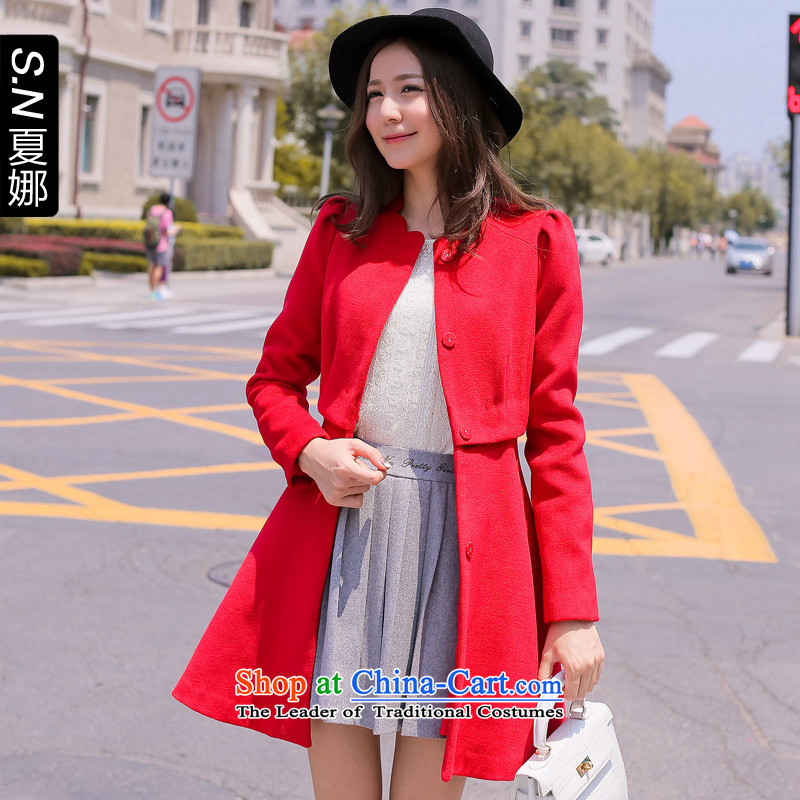 Ha-na 2014 autumn and winter new products Sau San Korean elegant coats jacket 244301100 gross? RED M