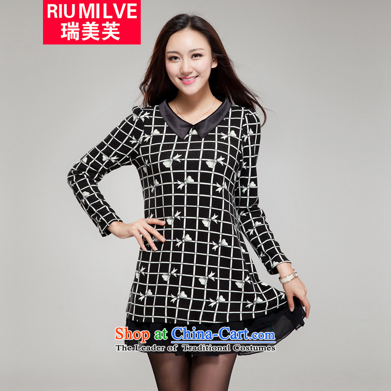 Rui Mei to�15 to increase the number of women with the new Korean autumn thick mm loose video thin lapel bow tie stamp long-sleeved dresses YF21 black燲L_131 catty-150 catty through_