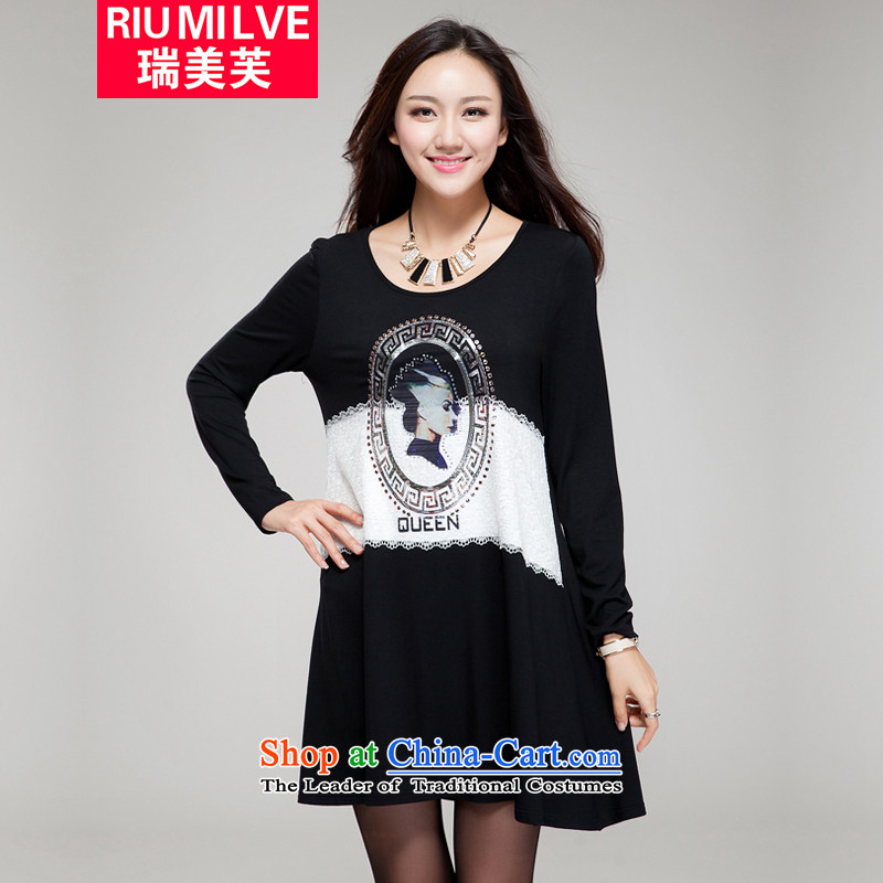 Rui Mei to large 2015 women fall new Korean retro stamp to drill ironing xl thick mm loose video thin long-sleeved dresses YF25 black 4XL_191 catty-210a catty through_