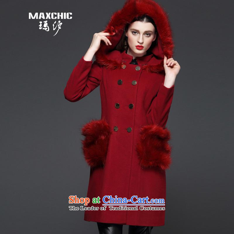 Marguerite Hsichih maxchic 2015 autumn and winter, small collar emulation fox maoulen cap wool blend yarn in long coats female 13602 so gross bourdeauxL