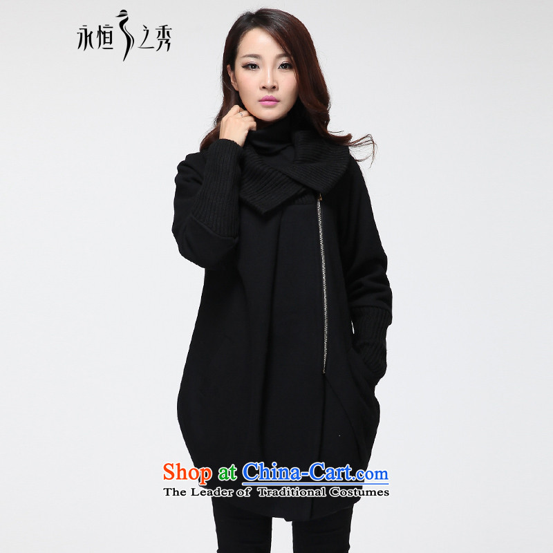 The Eternal Soo-to increase women's code gross? 2015 autumn and winter coats of Korean version of the new video in thin people thick long hair? jacket thick mm female black3XL Cardigan