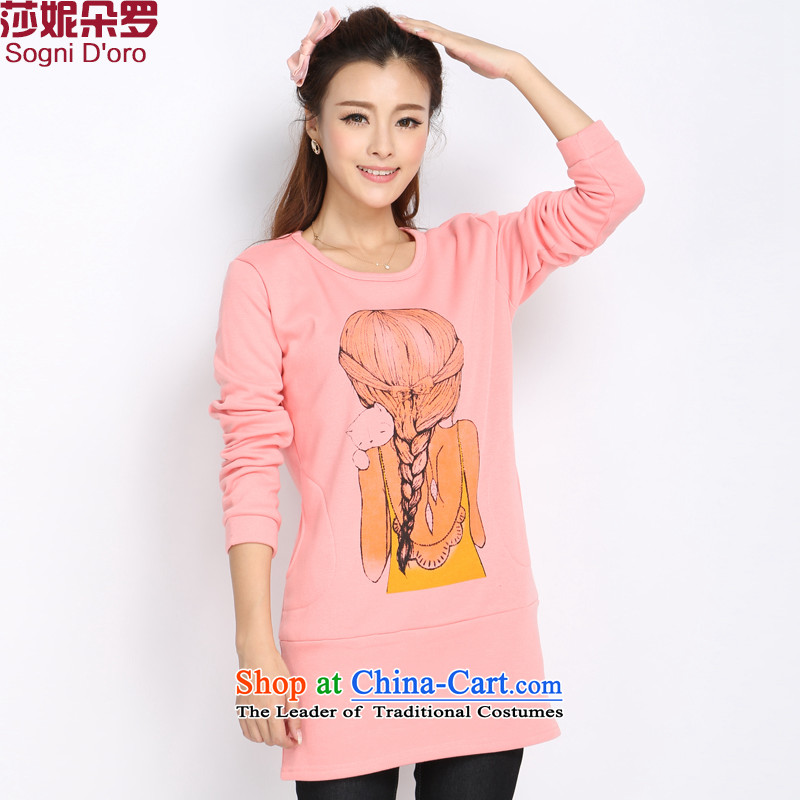 Shani Flower Lo 2015 XL T-shirts thick mm Fall/Winter Collections thick wool sweater stamp duty plus long-sleeved T-shirt female) Knitted Shirt 5018 pink 2XL