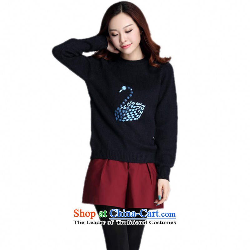 The Constitution hazel to increase the number of ladies' knitted shirts Package Mail 2015 Fall_Winter Collections with loose staples of leisure sweater pearl swan pattern shirt stylish deep blue T-shirt XL approximately 130-145 catty