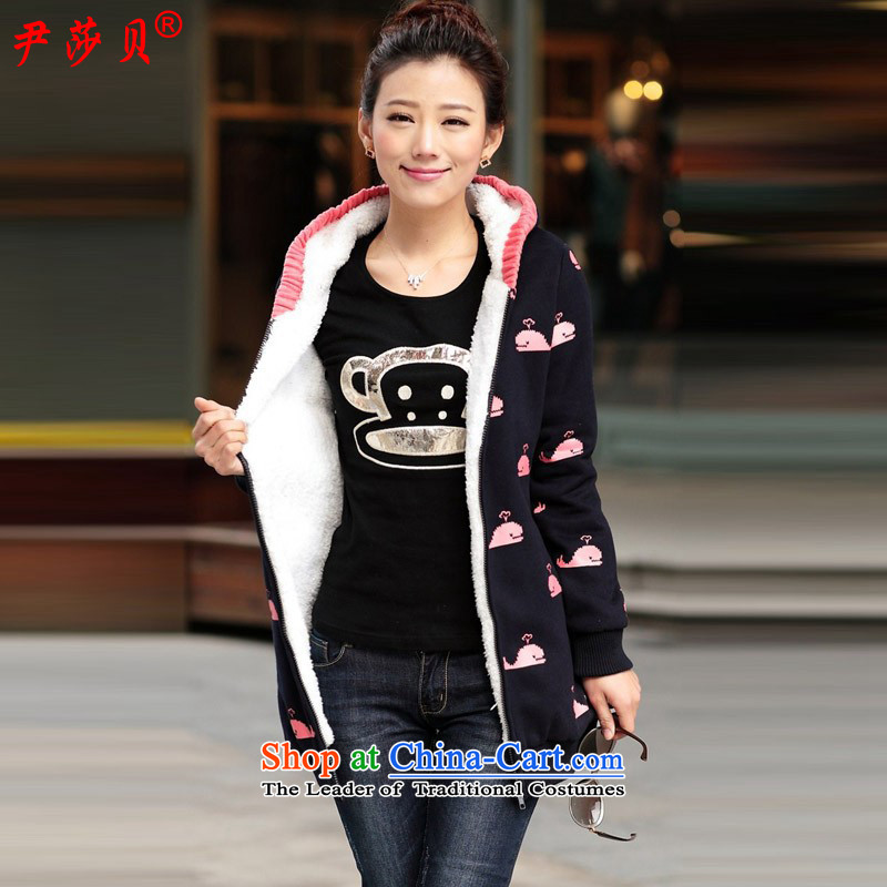 Yoon Elizabeth Odio Benito�15 winter clothing new larger female sweater Korean Lamb Wool Velvet 泾蜮 warm Jacket Card thick loose sweater cardigan 2079 Dark Blue Dolphin�L recommendations about 170
