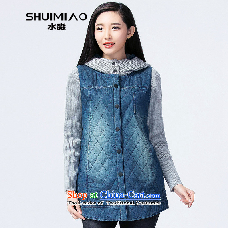 The representative of the water for larger women at the beginning of the winter coats 2014 female Korean robe preppy stripes S14DU4071 cotton coat female Tibetan blue燣