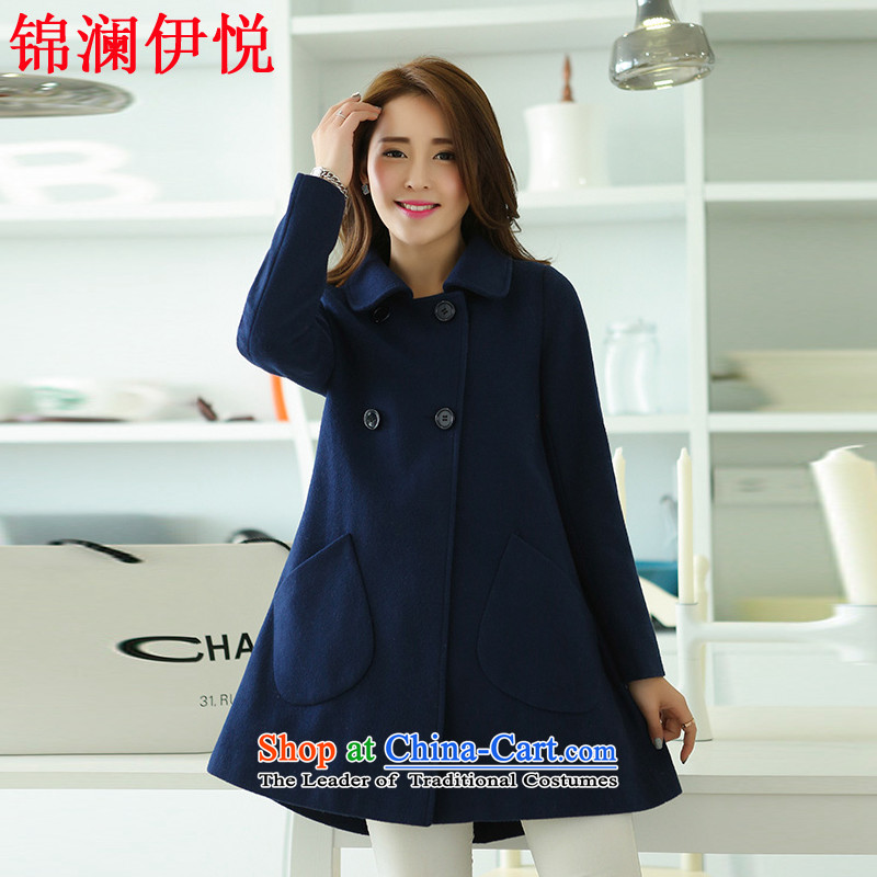 The world of Kam Yuet women fall_winter collections for larger loose cloak? coats dolls gross A skirt as Connie sub-yi of the red and yellow Wind Jacket Preppy Korean navy blue?M