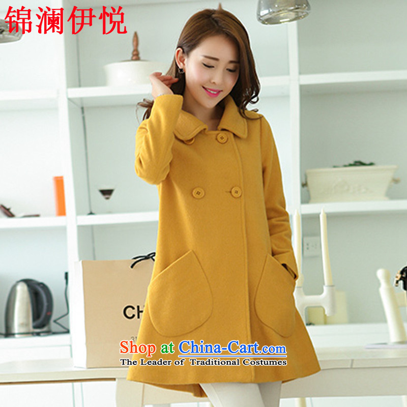 The world of Kam Yuet autumn and winter female double-pockets back arc long hair a wool coat wind jacket a doll, field preppy lovely yellowL