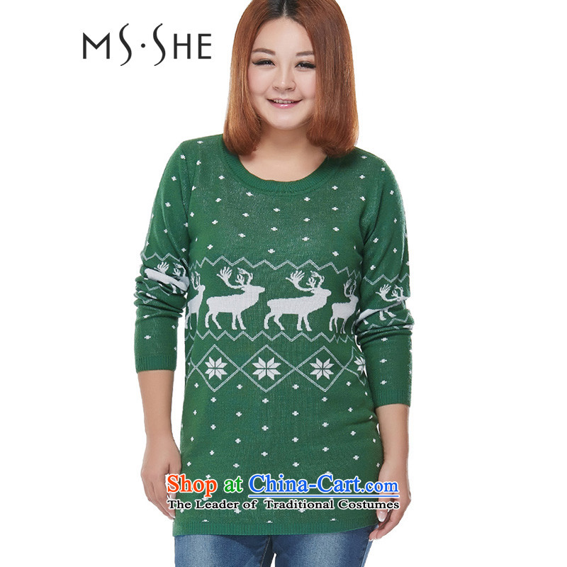 To increase the number msshe women 2015 Winter New College wind round-neck collar relaxd pattern 7862 Green 3XL long-sleeved sweater