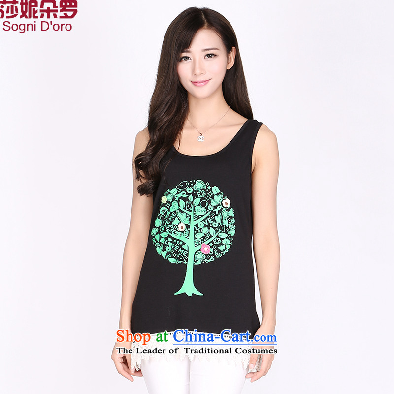 Luo Shani flower code T-shirts thick sister summer video thin to xl large Women's Tank Top female 2175 Graphics thin black聽vest the stamp of 6XL