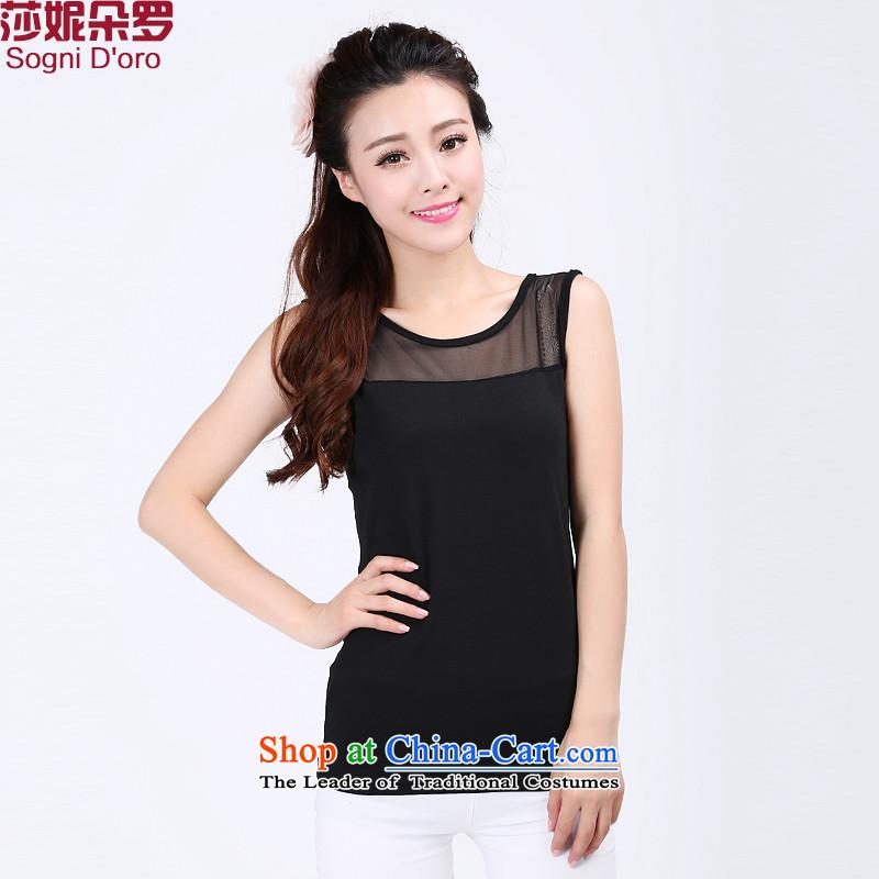 Shani flower lo xl female thick mm summer new 2014 round-neck collar mesh stitching vest the Netherlands 6735 Black5XL T-Shirt