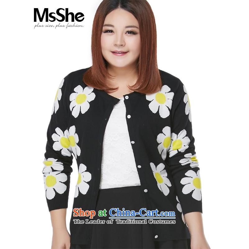 Msshe xl women 2015 Autumn new stylish color plane flowers knitting cardigan sweater coat 7889 Black on white flowers2XL