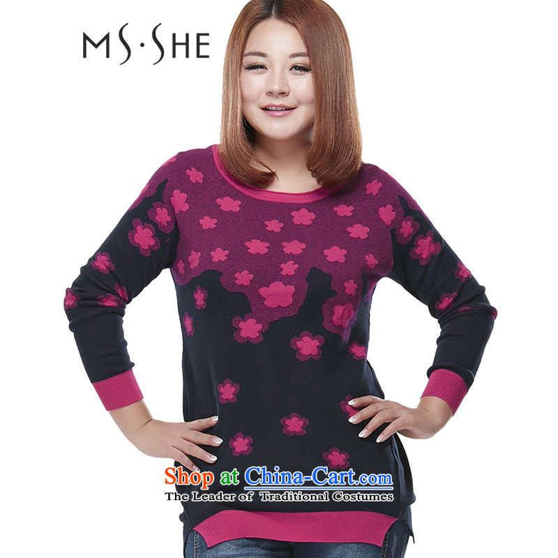 Msshe xl women 2015 autumn and winter new stamp in the leisure long knitting sweater pullovers 7917 Blue�L Safflower