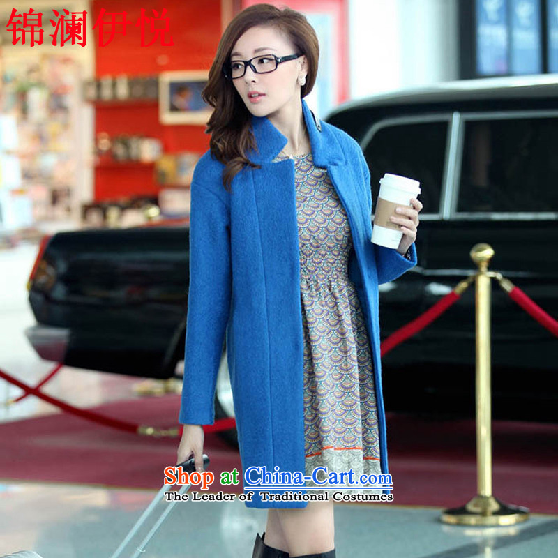 The world of Kam goddess of female Yue atmospheric loose larger aristocratic ladies in temperament long bold a wool coat gross jacket coat Bo? blueS