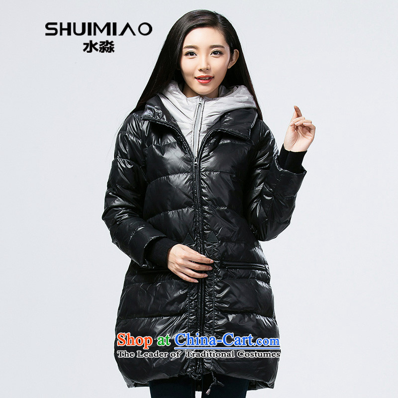 The representative of the water thick mm larger women 2014 winter clothes on the Korean girl in thick down long S14DO4252 Carbon Black XL